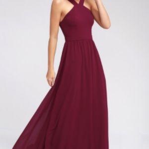 NEW Lulu's Burgundy Prom/Bridesmaid Dress